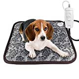 RIOGOO Pet Heating Pad, Dog Cat Electric Heating Pad Waterproof Adjustable Warming Mat with Chew Resistant Steel Cord 45x45cm