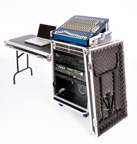 NSP Cases 16U DJ Workstation Flight Case Rack mit Seite Tabellen