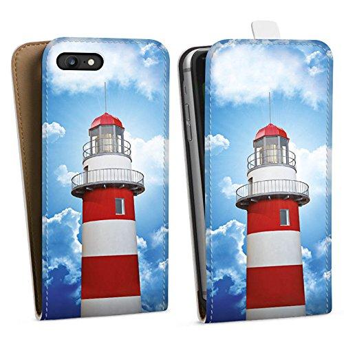 Apple iPhone 6 Tasche Hülle Flip Case Leuchtturm Himmel Wolken Downflip Tasche weiß