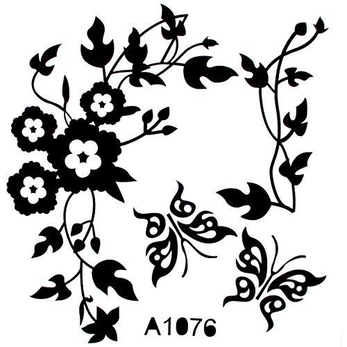 Lalang Schwarz Aufkleber für WC Toiletten Deckel Hibiskusblüten und Schmetterlinge Wand-Aufkleber