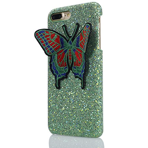 Felfy iPhone 7 Plus Schutz,iPhone 7 Plus Hülle Ultra Dünne High Quality Case Plastic Hülle Cover Schutzhülle Backcover iPhone 7 Plus Schale de Protection Case Cas [Schmetterling Stickerei + Bling Pail Schmetterling Grün
