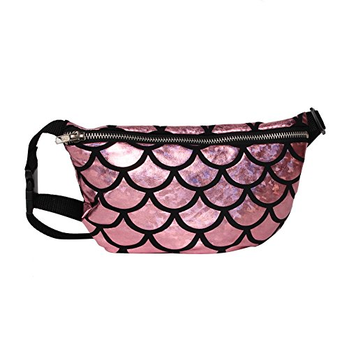 TININNA Frauen Schulter tasche Fisch Skala Muster Taille Tasche Multifunktionale Sequins Kosmetik Gürteltasche Cross-Body Schultertasche Sport Taille Tasche Rosa