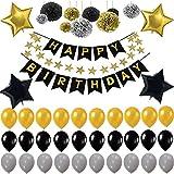 VOHONEY Décorations Anniversaire, Décoration Noir et Dorée Bannières de Joyeux Anniversaire Ballons d'anniversaire Noir Argent et Or Ballon Décorations (bannière de fête Noir)