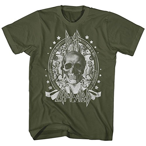 Official Def Leppard Men's Skull T-Shirt, Green. S to XXL