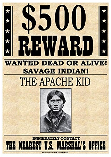 500-reward-wanted-dead-or-alive-savage-indian-the-apache-kid-fantastic-a4-glossy-art-print-exclusive