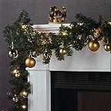 Wohaga Weihnachtsgirlande Tannengirlande Lichterkette 270cm 180 Spitzen 20 Lampen 16 Kugeln, Farbe:Gold
