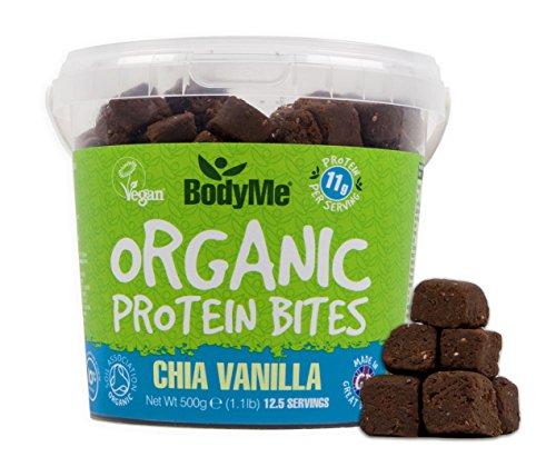 BodyMe Bio Vegane Protein Snacks Bisse   Roh Chia Vanille   500g (12.5 x 40g Portionen)   Mit 3 Pflanze Proteine (Kokosöl Nektar)