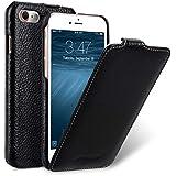 Edle Tasche für Apple iPhone 7 (4.7 Zoll) / Case Außenseite aus beschichtetem Leder / Schutz-Hülle aufklappbar / Flip-Case / Etui / ultra-slim / Cover Innenseite aus Textil / Farbe: Schwarz