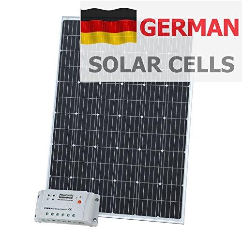 250W 12V Photonic Universe Solar Ladekabel Kit aus Deutsche Solar Zellen mit 20A Controller und 5m Kabel für 12V Batterie oder Akku Bank