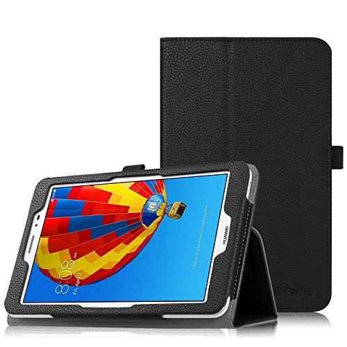 Fintie Huawei MediaPad T1 8.0 Hülle - Slim Fit Kunstleder (Folio) Schutzhülle Tasche Case Cover Standfunktion und Stylus-Halterung für Huawei MediaPad T1 8 Zoll 3G / WiFi Tablet-PC, Schwarz