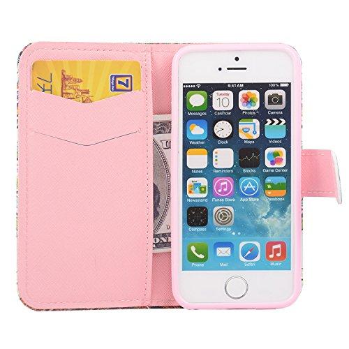 MOONCASE iPhone 5 Case Printing Series Coque en Cuir Portefeuille Housse de Protection Étui à rabat Case pour Apple iPhone 5 / 5S XC03 XC01 #1223