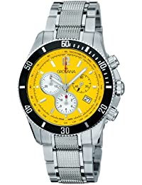 GROVANA 1615.9136 Men's Quartz Swiss Watch with Yellow Dial Chronograph Display and Silver Stainless Steel Bracelet
