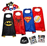 JOYZ Superhelden Kostüme für Kinder Set - 4 Umhänge + Masken, Tattoos und Tasche - Superman / Spiderman / Batman / Flash