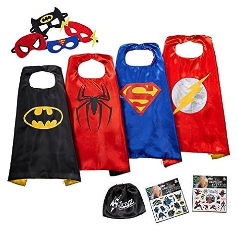 JOYZ Superhelden Kostüme für Kinder Set - 4 Umhänge + Masken, Tattoos und Tasche - Superman / Spiderman / Batman /