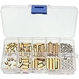 Yosoo - 120 unidades de pilares de latón y cobre M3, separadores de circuito, espaciadores de bifenilos policlorados, junta hexagonal, tornillos y tuerca redonda, cabeza de culata