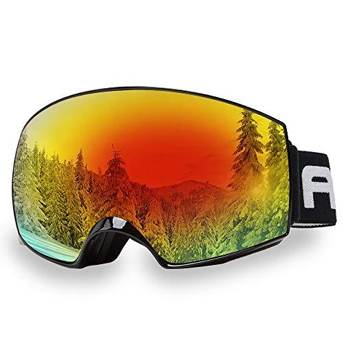 AKASO Herren/Damen Skibrille Snowboardbrille 100% OTG UV-Schutz, Antibeschlag/Flog Helmkompatible Ski Goggle- Magnetische Wechselobjektive