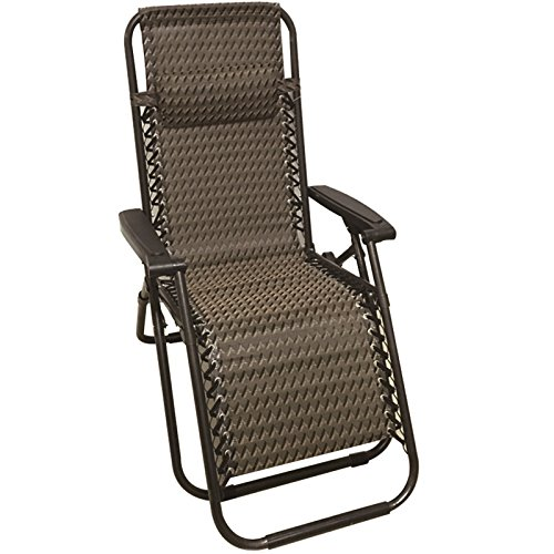 Deluxe Folding Chair Metal Recliner Deck Sun Lounger Garden Patio Seat With Armrest Foldable Furniture