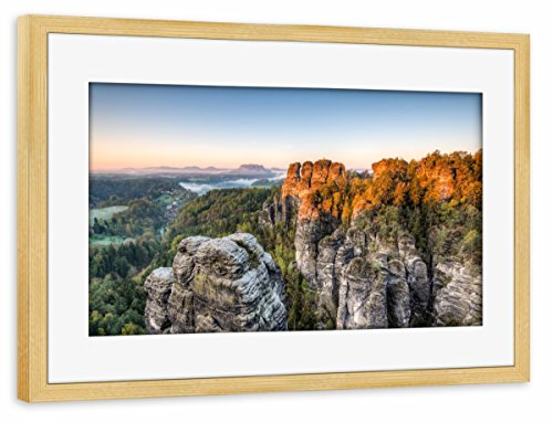 artboxONE Poster mit Rahmen Kiefer 75x50 cm Morgens im Elbsandsteingebirge von Michael Valjak - gerahmtes Poster -