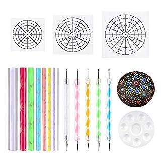 Mandala Dotting Schablone,Tools Rock Malerei Kit Ball Stylus Dotting Tools enthalten, Farbwanne, Crylic rod-mandala Werkzeug für Mandala Art Rock Leinwand Malerei(17 Stück)