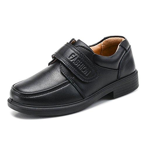 OCHENTA Chicos Correa Gancho y Bucle Uniforme Escolar Oxford Zapatos de Vestir (Niño pequeño/Niño Grande) #1 Negro 35