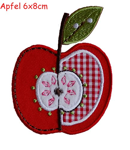 2 iron-on fabric Patches Butterfly 10x7 and Apple 6x8cm TrickyBoo Design Zurich