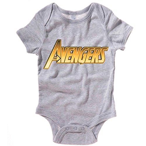 Body bebé Los Vengadores Avengers logo dorado - Gris, 12-18 meses