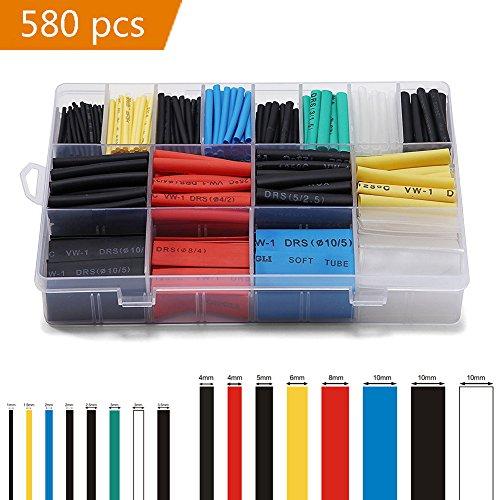 JTENG 580 pcs Schrumpfschlauch Sortiment Schrumpfschläuche Set Heat Shrink Tube Schrumpfschläuche farbig in Box Wire Wrap Assortment
