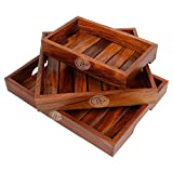 #5: Wood Art Store Handmade Modern Wooden Tray - Set Of 3 - Serving Tray Set