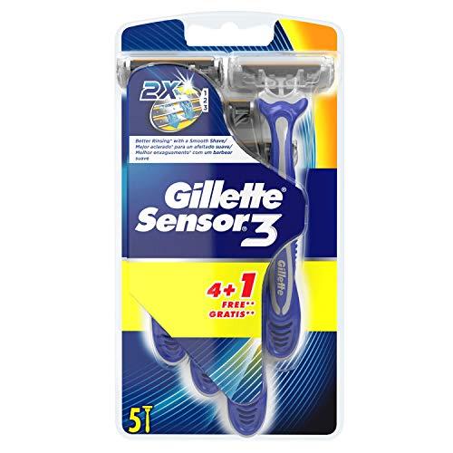 51jU1l1KDmL - Gillette Sensor3 Maquinillas desechables para hombre, 4+1unidades