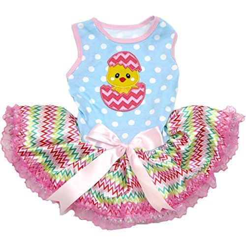 g Kleid Ostern Küken Ei Polka Dots Blau Top Chevron Tutu, Medium, Blau ()
