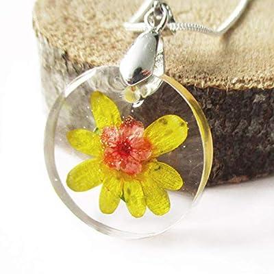 Pendentif Solea en résine et fleurs - Bijou nature fleur jaune et rouge Collier en fleurs séchées argent 925 collier végétal