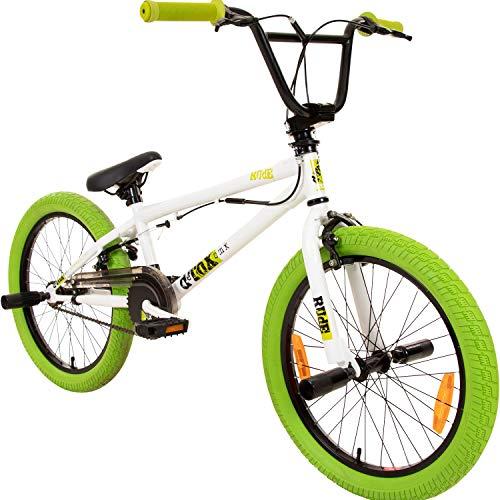 deTOX 20' BMX Freestyle Kinder Neu Anfänger ab 130 cm, 7 J, Farbe:Weiss/grün