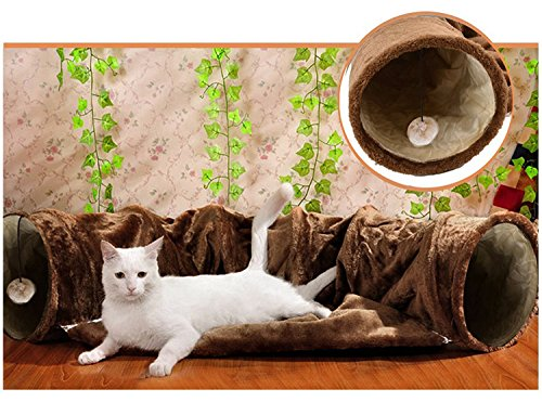 Cat Tunnel Toy and Bed 2 in 1 ,Myguru Collapsible Removable Warm Plush Bed with Scratching Ball for Puppy Kitten Kitty Crate Cage Shack House