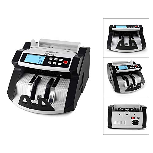 Decdeal Aibecy Automatic Multi-Currency Cash Banknote Money Bill Counter Counting Machine LCD Display with UV MG Counterfeit Detector for Euro US Dollar AUD Pound