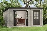 CARLSSON Gartenhaus Maria mit Anbau (Wandstärke 28 mm)