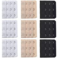 Vococal - 9 piezas 3 Fila 3 Ganchos Elásticos Sujetador Ropa Interior Bra Extensor Ajustable Gancho para Mujer (Negro, blanco y Color de la piel)