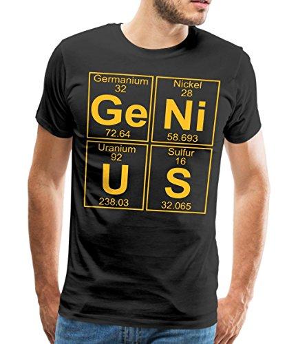 Spreadshirt Ge-Ni-U-S Genius Genie Chemie Periodensystem Männer Premium T-Shirt, S, Schwarz (T-shirts Elemente)