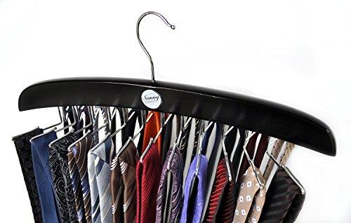 Tie Hanger (Sunny Sunday Edler Krawattenhalter Aus Holz, Schwarz - Krawattenbügel Gürtelhalter, Aufbewahrung Für Krawatten, Tücher, Schals)