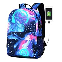 School Backpack, Kigos Galaxy School Backpack Anime Rucksack Cool Unisex Canvas Backpack Luminous Backpack Daypack Shoulder School Laptop Bag Backpack