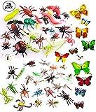 OOTSR 39pz Insetti in plastica per Bambini, Figure di Insetti Giocattoli con Adesivo da Parete Farfalla Colorata per l'istruzione / Giocattoli di Halloween / Feste a Tema / Regali di Compleanno