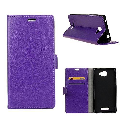 MOONCASE Alcatel POP 4S Hülle, Ledertasche Brieftasche mit Standfunktion und Karte Halter Tasche Magnetisch Leder Schutzhülle für Alcatel One Touch Pop 4S 5.5