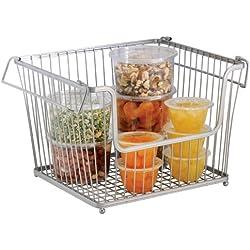 InterDesign - York Lyra - Canasto para almacenamiento hogareño, de alambre; para el gabinete de la cocina o de la despensa - grande - Plateado
