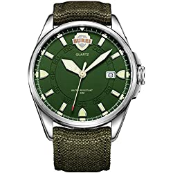 BUREI® Men's Luminous Army Style Outdoor Sports Date Quartz Watch with Canvas Strap -Green Silver Dial