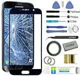 ACENIX Universal Reparaturset Front Glas außen Bildschirm Ersatz Objektiv Reparatur Kit für Samsung Galaxy S7Schwarz + 2mm Klebeband und Öffnung Pry Tools