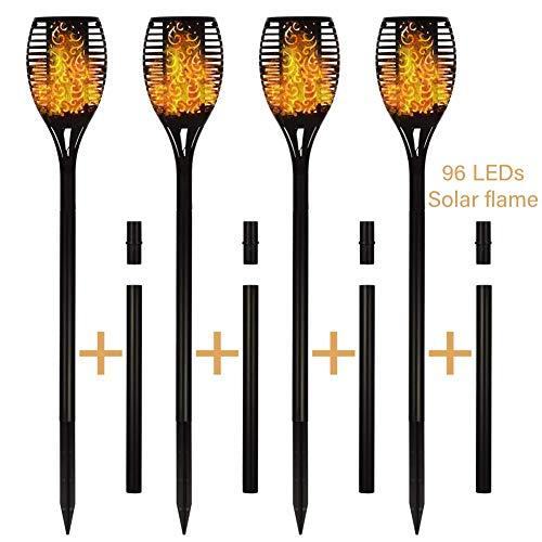 4er Solar-Taschenlampen, 96 LEDs Wasserdichte Solar-Flammenlampen Landschafts-Rasenlampen Dämmerung bis Morgendämmerung Auto Ein/Aus für die Einfahrt zum Gartenweg