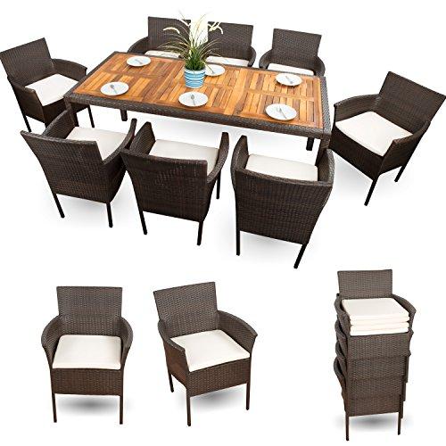 Gartenmöbel Set 8 Stühle Polyrattan Sitzgruppe 8+1 XXXL 18-tlg. Braun mit Holztischplatte