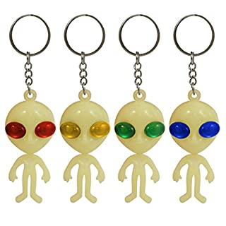 6 GLOW IN THE DARK ALIEN KEYRING PARTY TOY LOOT BAG FILLERS PRIZES by ALANNAHS ACCESSORIES