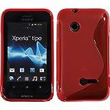 PhoneNatic Sony Xperia tipo Hülle Silikon rot S-Style Case Xperia tipo Tasche + 2 Schutzfolien