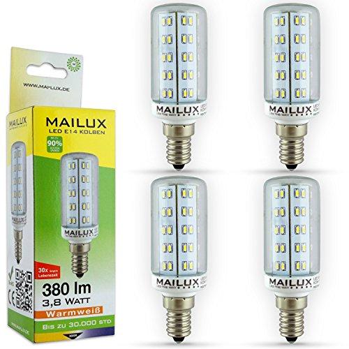 MAILUX KON11110 LED Energiesparlampe   Kolben   E14   4 Watt   klar   390 lm   360°   warmweiss 2700 K   ersetzt ca. 35 Watt   4er Haushaltspack