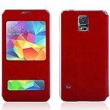 Luxury Ultrad¨¹nne Window View Leder Schutz Flip Tasche f¨¹r Samsung Galaxy i9600 S5 SV (Red)